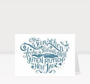 Weihnachtskarte Gezeichnete Typo-Weihnachtsgrüße in blau