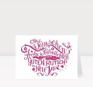 Weihnachtskarte Gezeichnete Typo-Weihnachtsgrüße in pink
