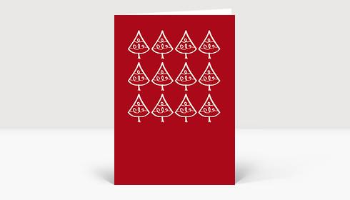 Weihnachtskarte Zeichnung zwölf Tannenbäume