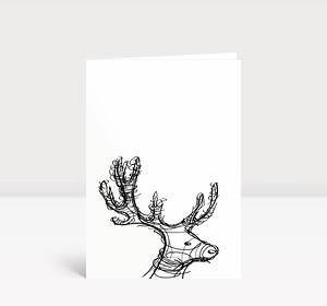 Weihnachtskarte Hirsch Skizze schwarz