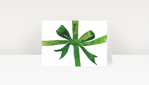 Weihnachtskarte weihnachtsschleife aquarell gr n dk2075 - Designer weihnachtskarten ...