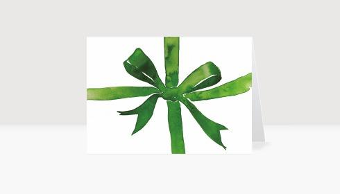 Weihnachtskarte Weihnachtsschleife Aquarell Grün