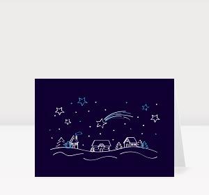 Weihnachtskarte Weihnachtsdorf Blau