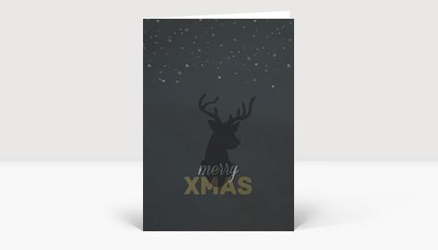 Weihnachtskarte Xmas Hirsch Nacht