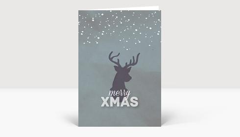 Weihnachtskarte Xmas Hirsch Grau-Türkis
