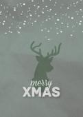Weihnachtskarte Xmas Hirsch Grün