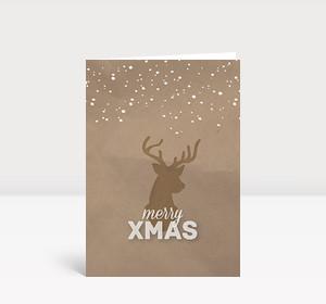 Weihnachtskarte Xmas Hirsch Naturfarben