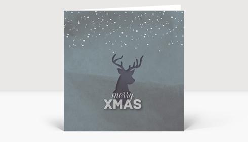Weihnachtskarte Xmas Hirsch Grau-Türkis Quadrat