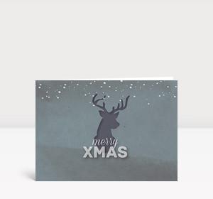 Weihnachtskarte Xmas Hirsch Grau-Türkis DIN A6 Lang