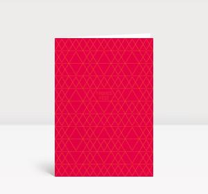 Weihnachtskarte Tannendreiecke auf leuchtend rot