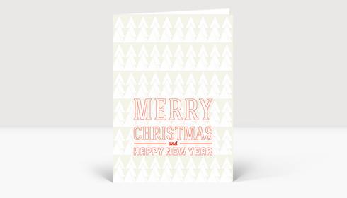 Weihnachtskarte Weiße Tannen auf beige