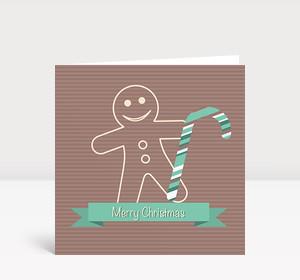 Weihnachtskarte Lebkuchenmann Grün