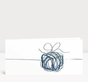 Weihnachtskarte Päckchen Scribble Blau