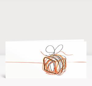 Weihnachtskarte Päckchen Scribble Orange