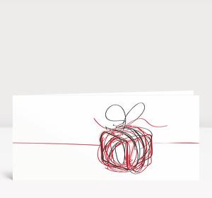 Weihnachtskarte Päckchen Scribble Rot
