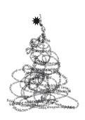 Weihnachtskarte Typobaum s/w