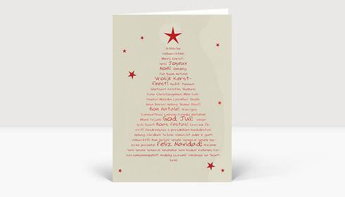 Weihnachtskarte Typo Weihnachtsbaum rot