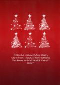 Weihnachtskarte 6 Baumwirbel auf rot