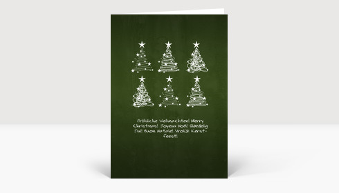 Weihnachtskarte 6 Weihnachtsbaum Wirbel auf grün