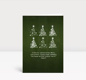 Weihnachtskarte 6 Baumwirbel auf grün