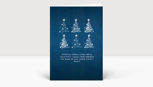 Weihnachtskarte 6 Weihnachtsbaum Wirbel auf blau