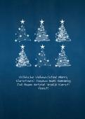 Weihnachtskarte 6 Baumwirbel auf blau