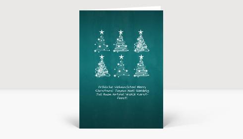Weihnachtskarte 6 Weihnachtsbaum Wirbel auf türkis