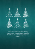 Weihnachtskarte 6 Baumwirbel auf türkis