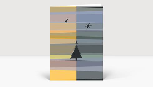 Weihnachtskarte Tannenbaum- und Sternsilhouetten auf gelben und blauen Streifen