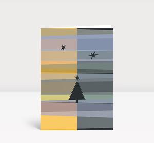 Weihnachtskarte Tannenbaum- und Sternsilhouetten gelb blau