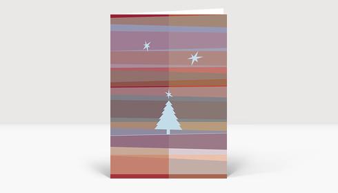 Weihnachtskarte Tannenbaum- und Sternsilhouetten auf roten und violetten Streifen