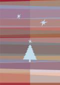 Weihnachtskarte Tannenbaum- und Sternsilhouetten rot violett