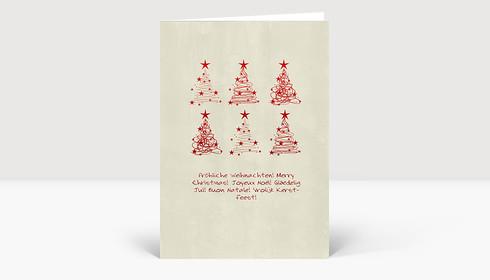 Weihnachtskarte 6 Weihnachtsbaum Wirbel rot