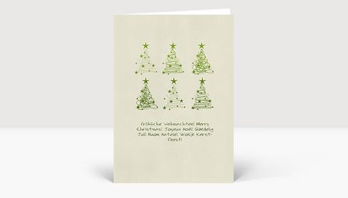 Weihnachtskarte 6 Weihnachtsbaum Wirbel grün