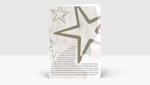 Weihnachtskarte Sterne Grau mit internationalen Weihnachtsgrüßen
