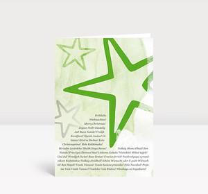Weihnachtskarte Sterne international grün