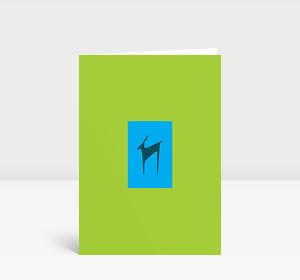 Weihnachtskarte Hirschsilhouette Cyan und Grün