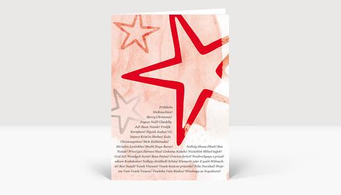 Weihnachtskarte Sterne Rot mit internationalen Weihnachtsgrüßen