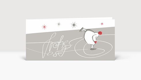 Weihnachtskarte Eiskunstläuferin in Lehmbraun und Rot