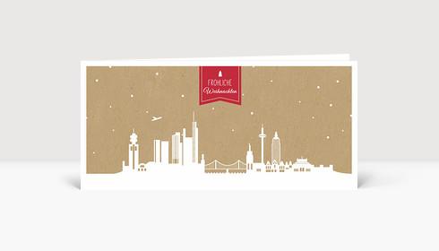 Weihnachtskarte Frankfurt Karton rot