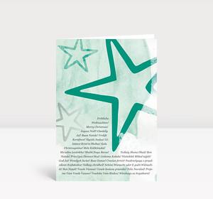 Weihnachtskarte Stars international türkis