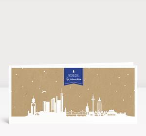 Weihnachtskarte Frankfurt Karton blau