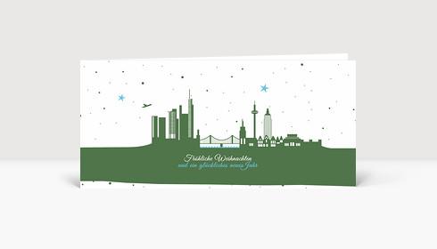 Weihnachtskarte Frankfurter Sternenhimmel grün