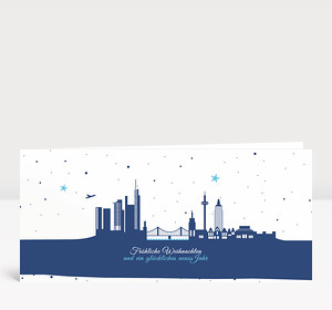 Weihnachtskarte Frankfurter Sternenhimmel blau