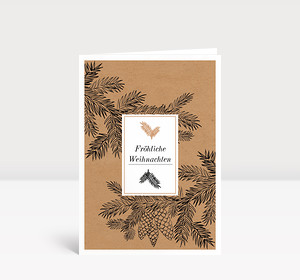 Weihnachtskarte Tannenzweige auf Karton
