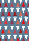 Weihnachtskarte Dreiecks-Weihnachtsmänner auf blau