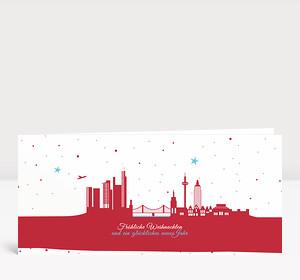 Weihnachtskarte Frankfurter Sternenhimmel Rot