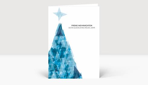 Weihnachtskarte Weihnachtsbaum Dreiecke blau DIN A6
