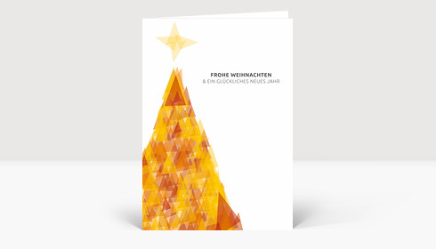 Weihnachtskarte Weihnachtsbaum Dreiecke orange DIN A6