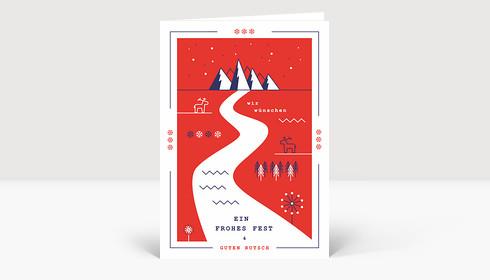 Weihnachtskarte Retro Winterland Rot
